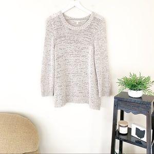 Eileen Fisher Cream Crewneck Open Knit Sweater